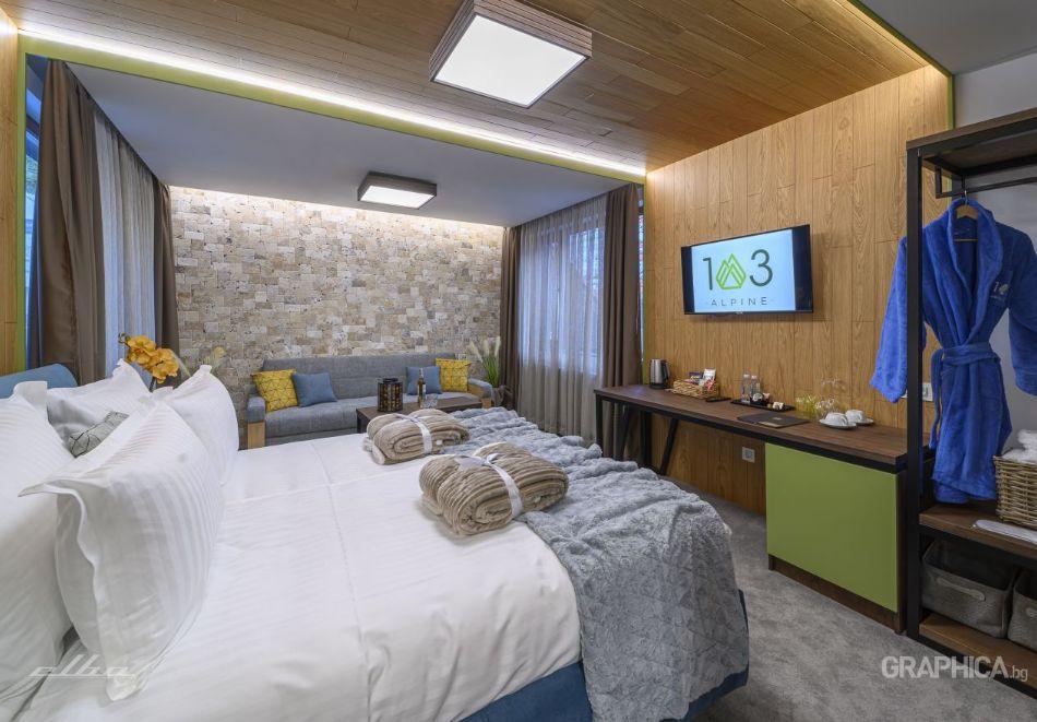 Нощувка със закуска на човек + басейн с подсолена вода и СПА в Семеен Хотел 103 Алпин, Паничище, снимка 7